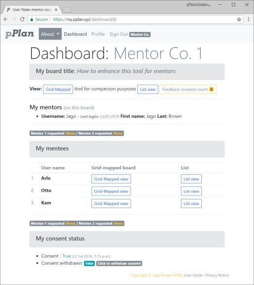 pPlan Dashboard